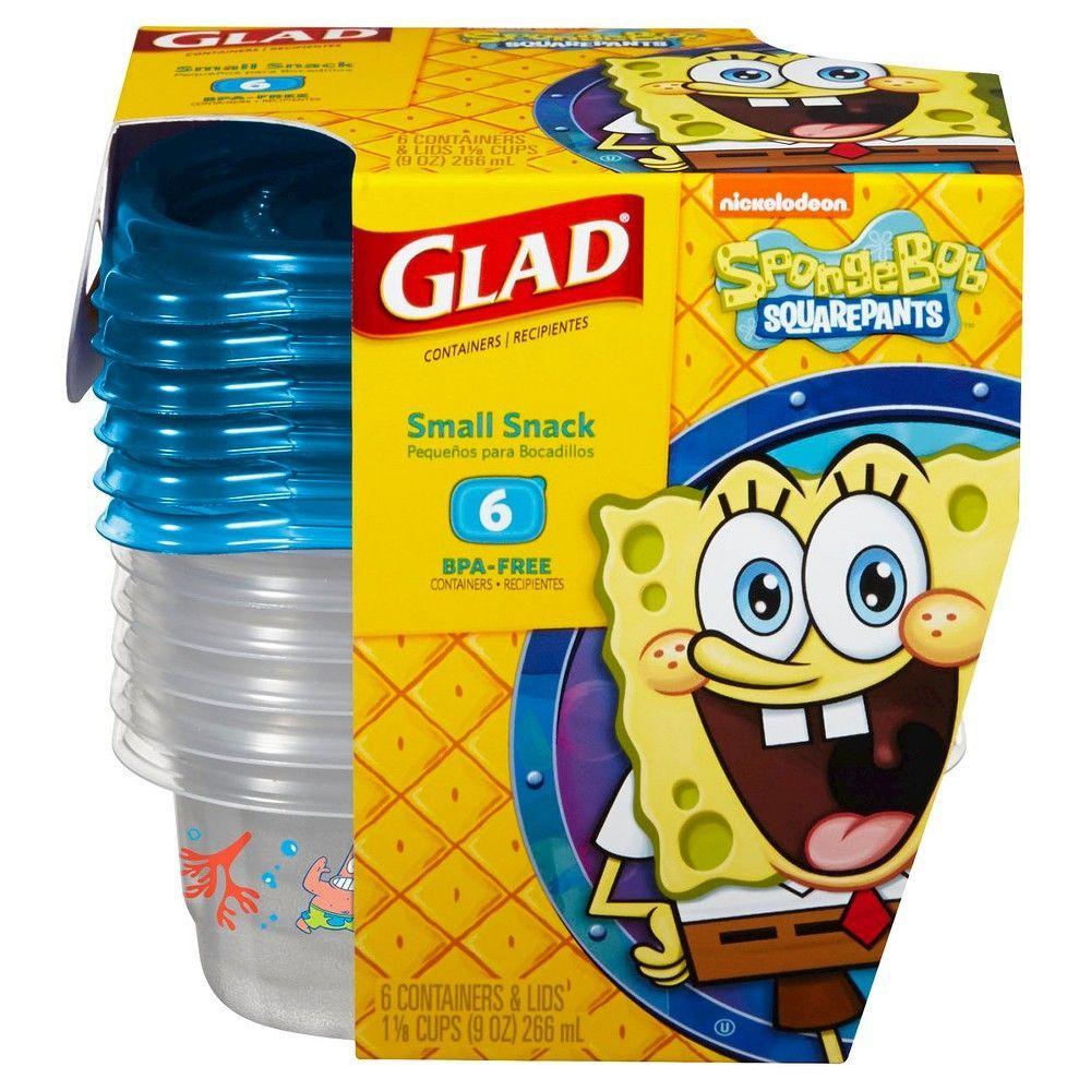 Glad Sponge Bob Rectangle Container 9oz. 6ct, Yellow/Blue