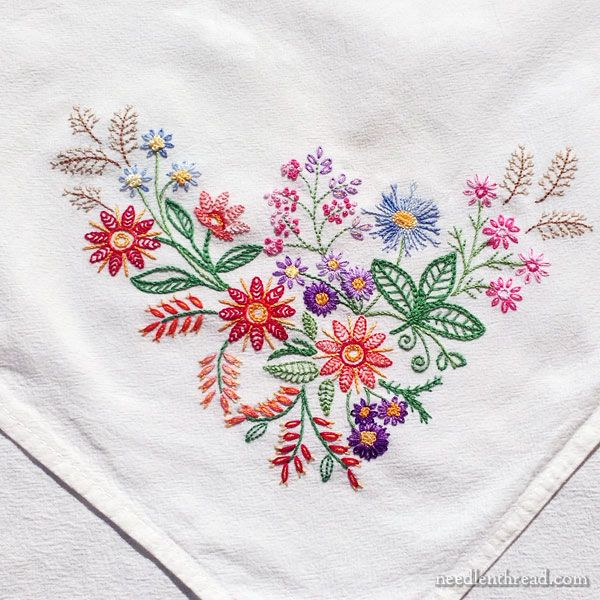 A Friday Finish – or Two! Embroidered Floral Corners | embroidery ...