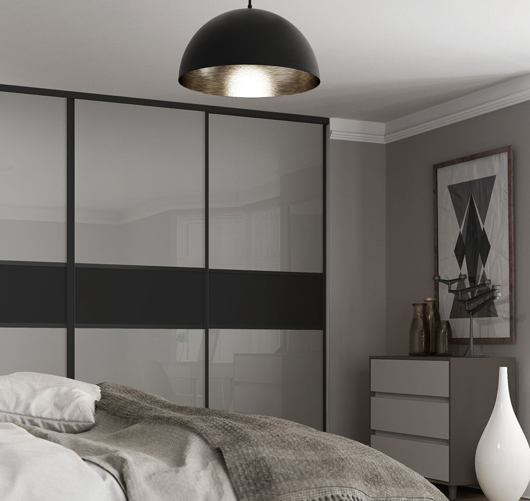 Classic 3 panel fineline sliding wardrobe doors in Grey mirror and Black panel with Black frame & Classic 3 panel fineline sliding wardrobe doors in Grey mirror and ...