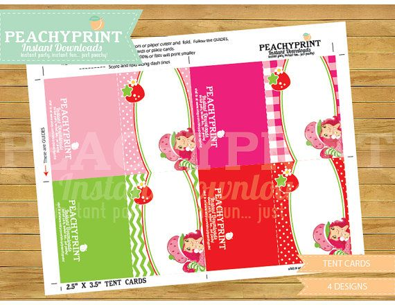Strawberry Shortcake Tent Cards Instant Download  sc 1 st  Pinterest & Strawberry Shortcake Tent Cards Instant Download | Tents