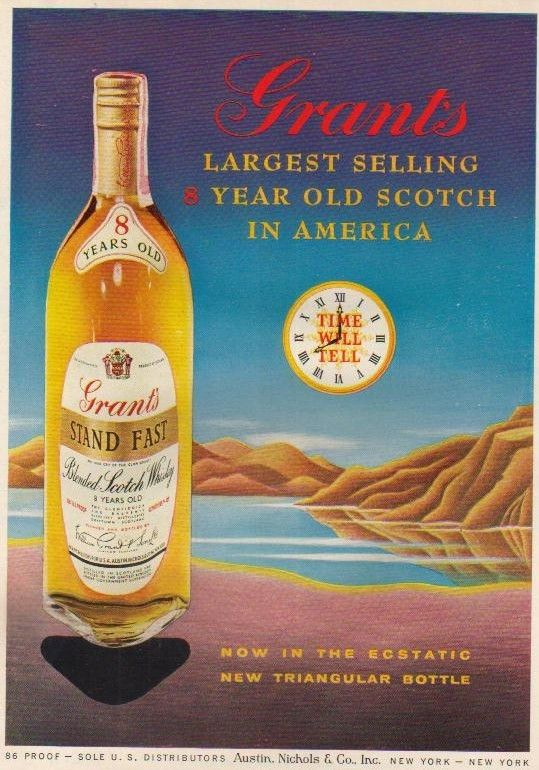 1957 Grant\'s Scotch Whisky Bottle Illustrated Print Ad   eBay ...
