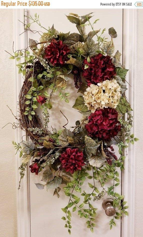 Photo of Everyday Wreath, Spring Wreath, Summer Wreath, Hydrangea Wreath, Hydrangea Decor, Grapevine Wreath, Grapevine Decor, Front Door Wreath, Wreath