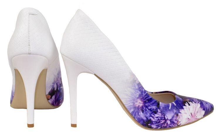 Biale Czolenka Na Obcasie Z Fioletowymi Kwiatami Eleganckie Szpilki Roseti Bialo Fioletowe Heels Stiletto Shoes