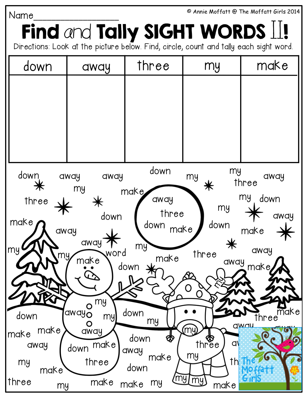Find And Tally Sight Words From The Picture What A Fun