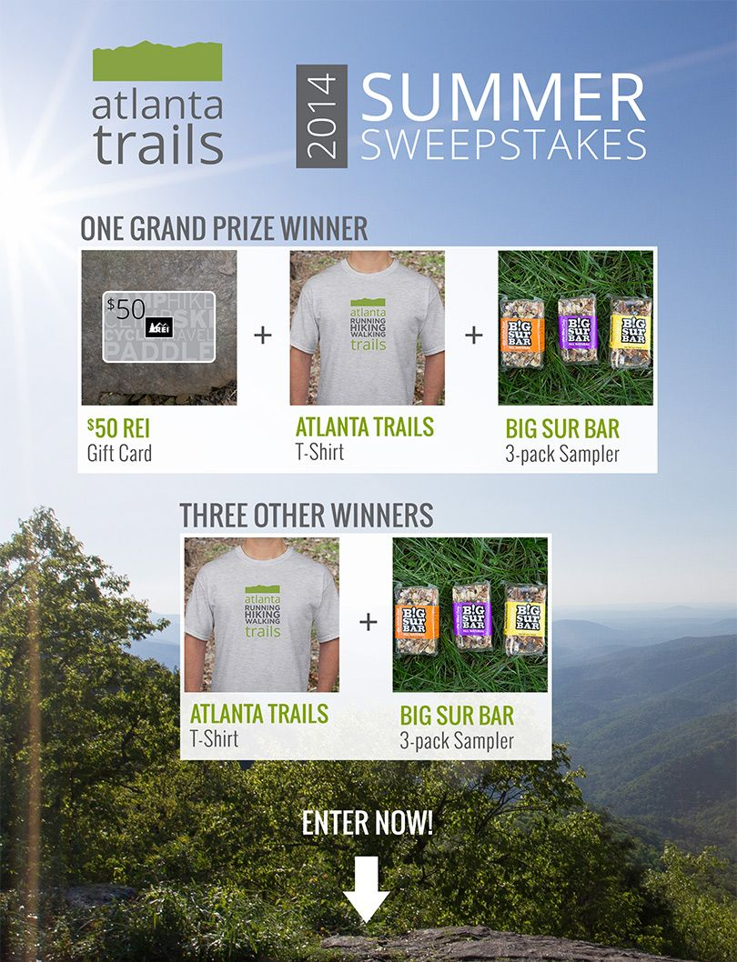 You've helped us create Georgia's best collection of hiking, running and walking trails. To say thanks, we're giving away some great prizes!