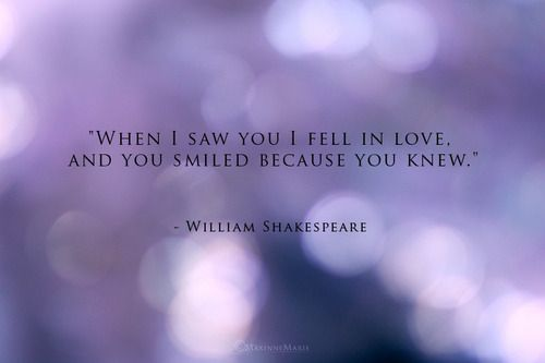 When I saw you I fell in love. And you smiled because you knew.