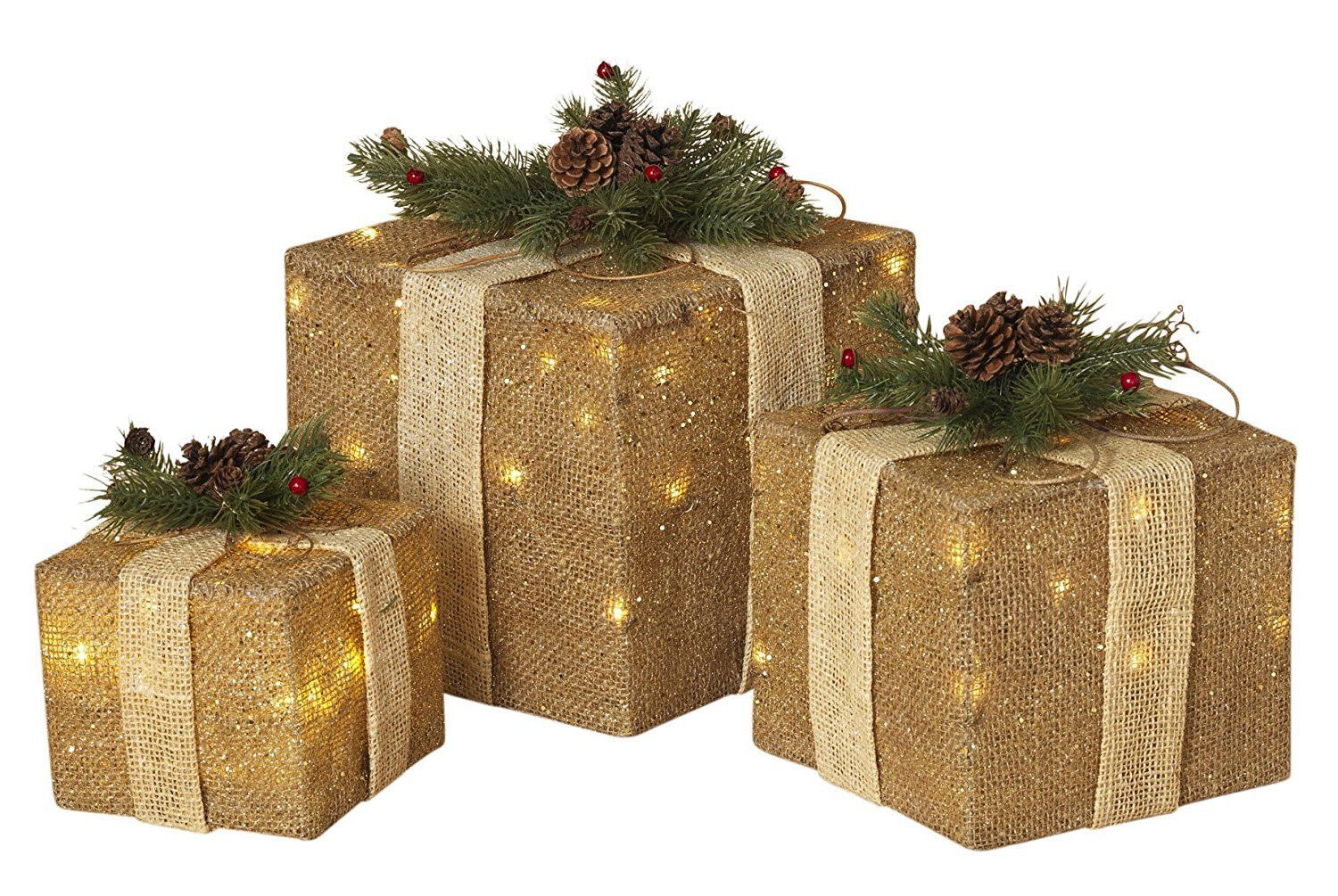 Large lighted outdoor christmas ornaments - Set Of 3 Large Lighted Burlap Holiday Gift Boxes Indoor Outdoor Christmas Decoration