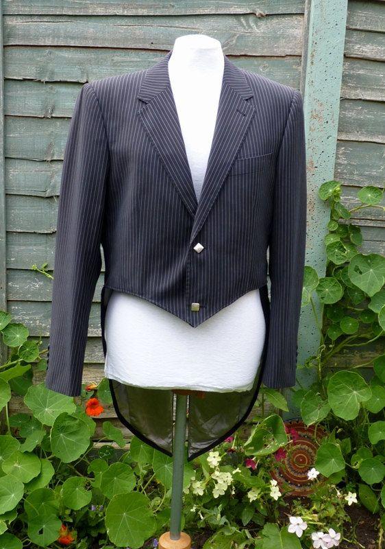 Black and white pinstripe tailcoat