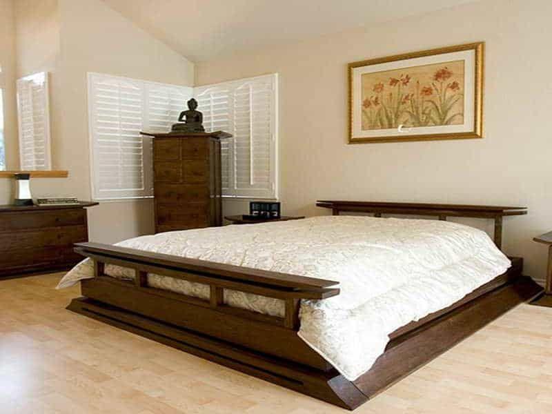Unique And Antique Japanese Dark Wood Bedroom Furniture Design