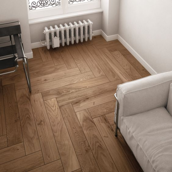 1) The herringbone pattern achieves a contemporary effect with wood