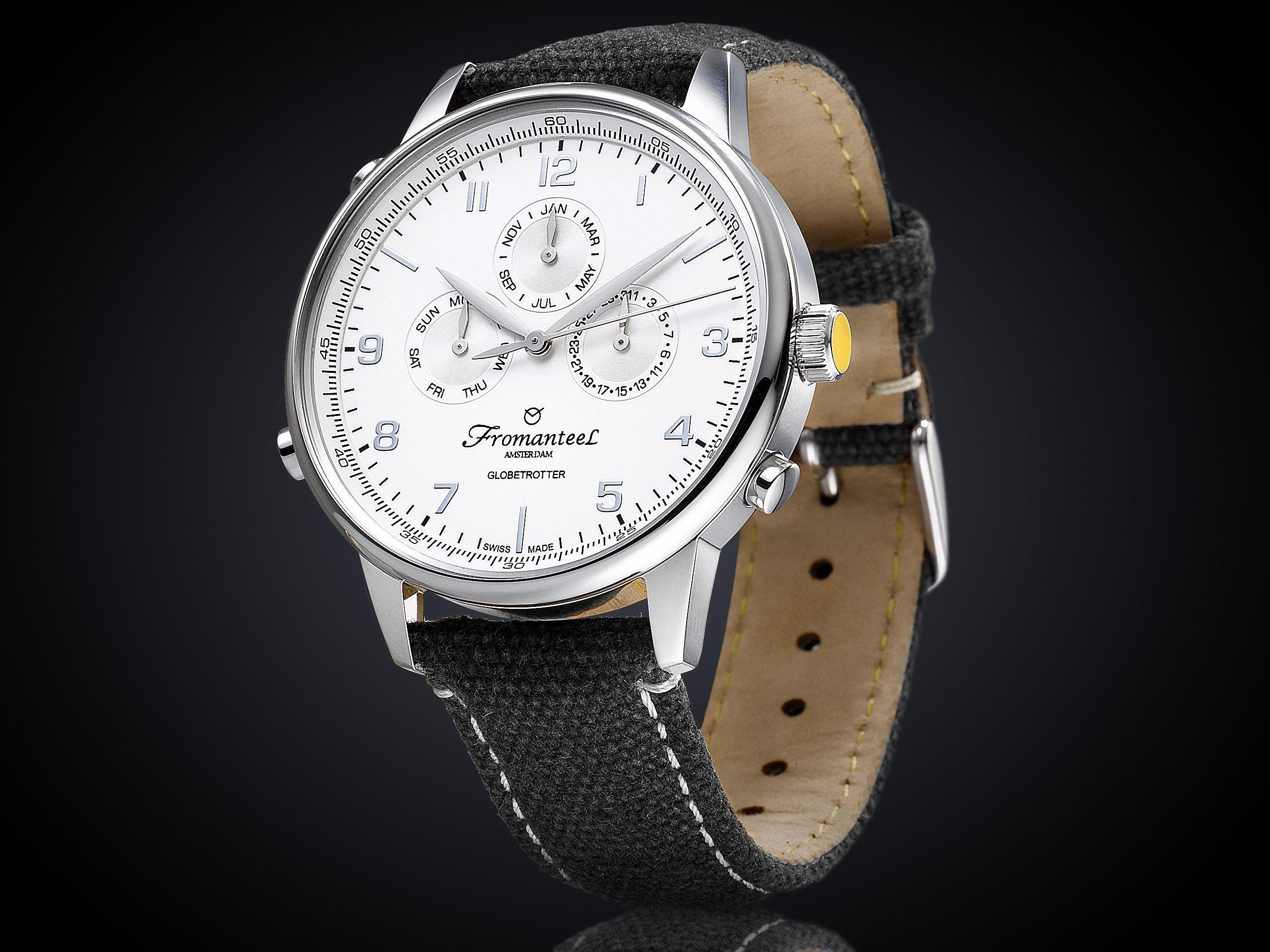 Fromanteel globetrotter horloge met witte wijzerplaat GT-0501