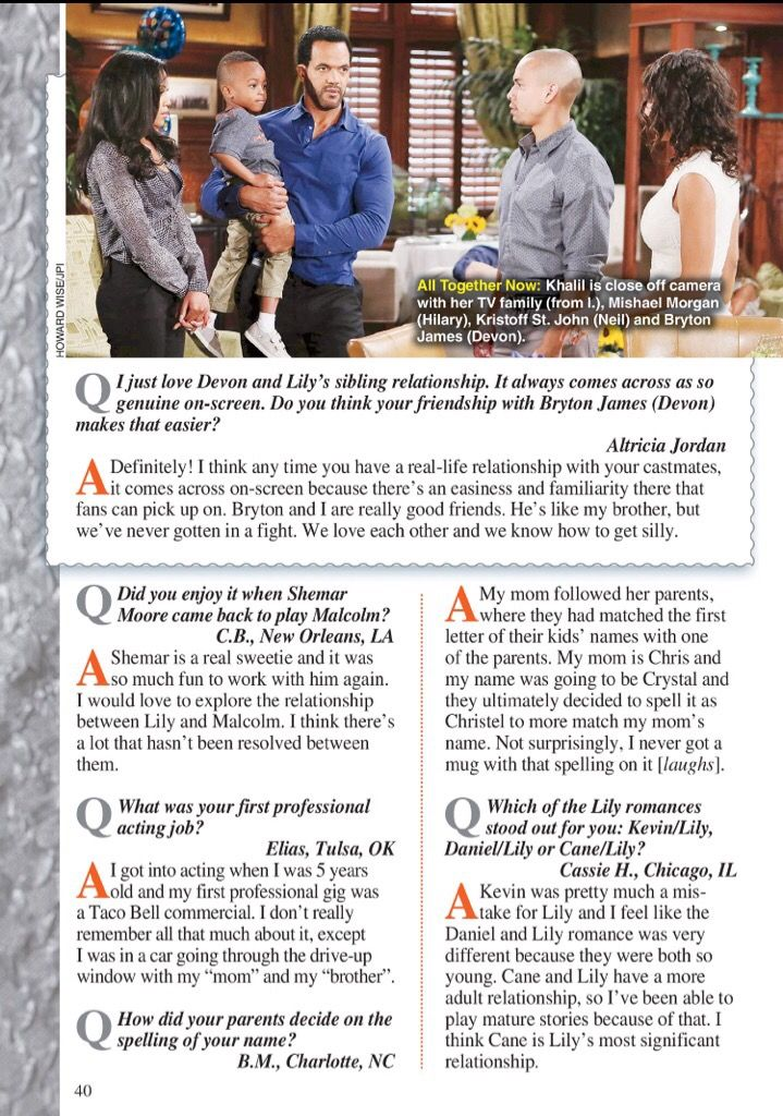 Christel Khalil Interview in Soap Opera Digest pg  40 issue