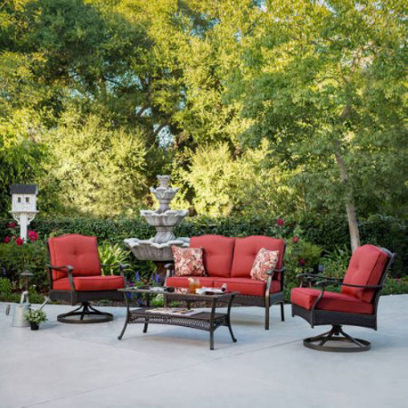 Outdoor Better Homes Gardens Providence 4 Piece Patio Conversation Set Red