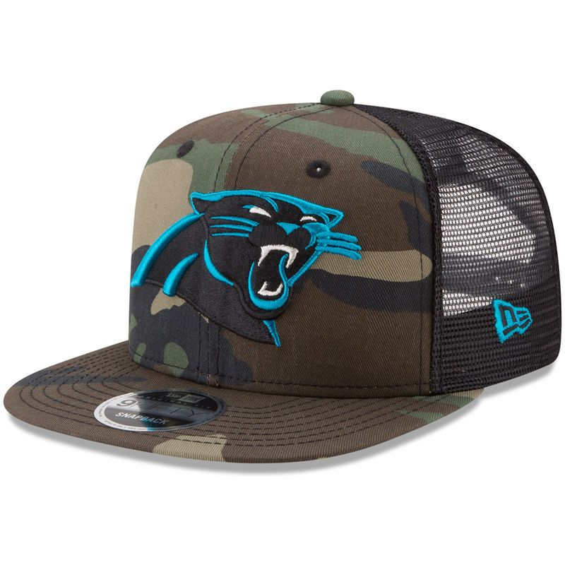 Carolina Panthers New Era Trucker 9FIFTY Snapback Adjustable Hat - Woodland  Camo Black fec5466cd