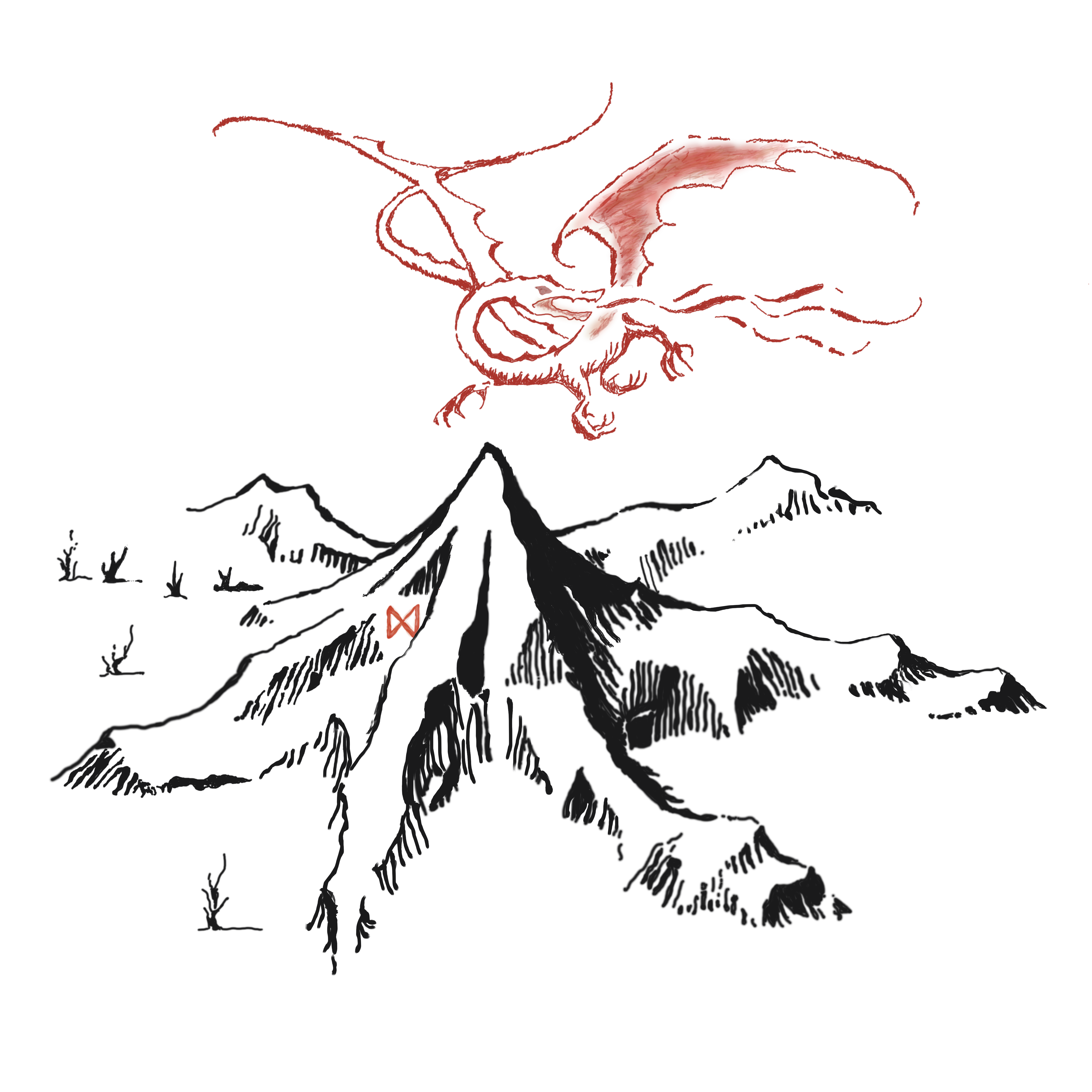 Lonely Mountain And Smaug Png By Tomaco94 D7dmonm Png 5000 5000 Lonely Gifts Gandalf Mountain Outline