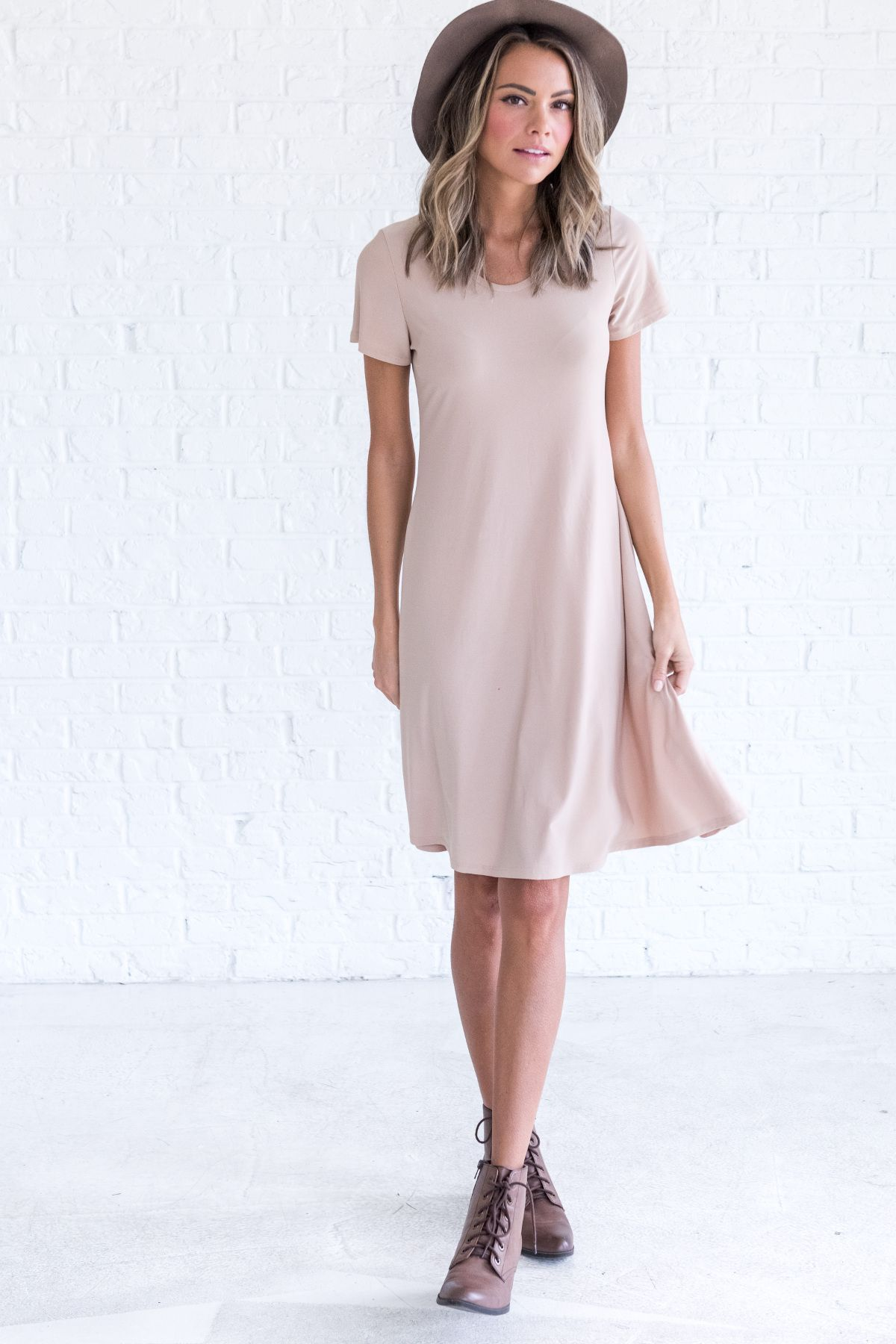 Tan dress, cute dresses for winter, casual dress outfit