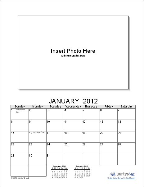 Download The Photo Calendar Template From VertexCom  Pasadena