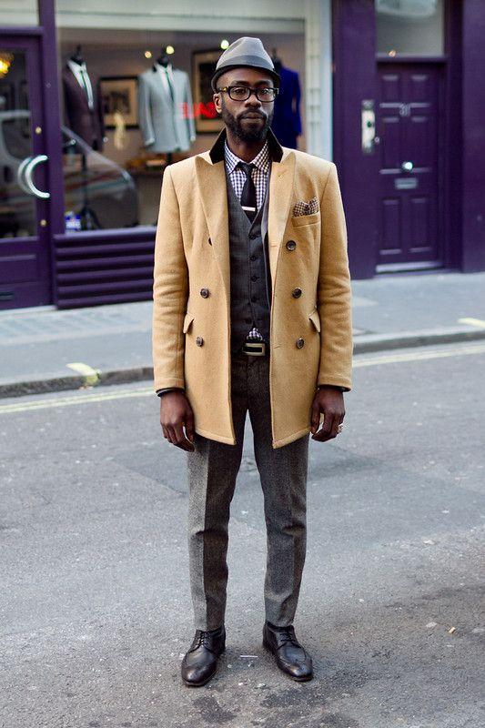 Coggles street style! #peacoat #suit #tie #hat