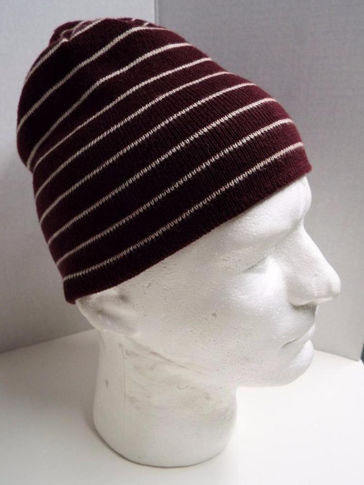 4c20824fda8 AEROPOSTALE Men s Cap Beanie Winter Hat Dark Red w Stripes 1987 Aero   Aeropostle  Beanie