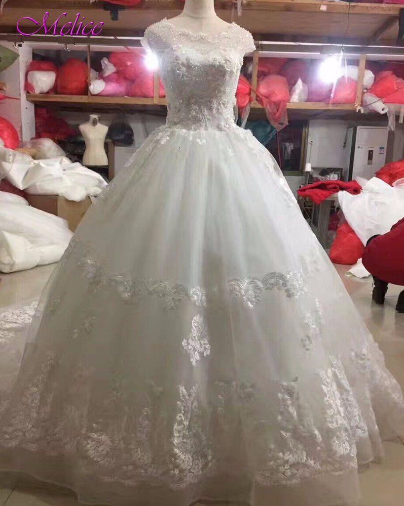 Melice scoop neck beaded pearls robe de mariage ball gown wedding