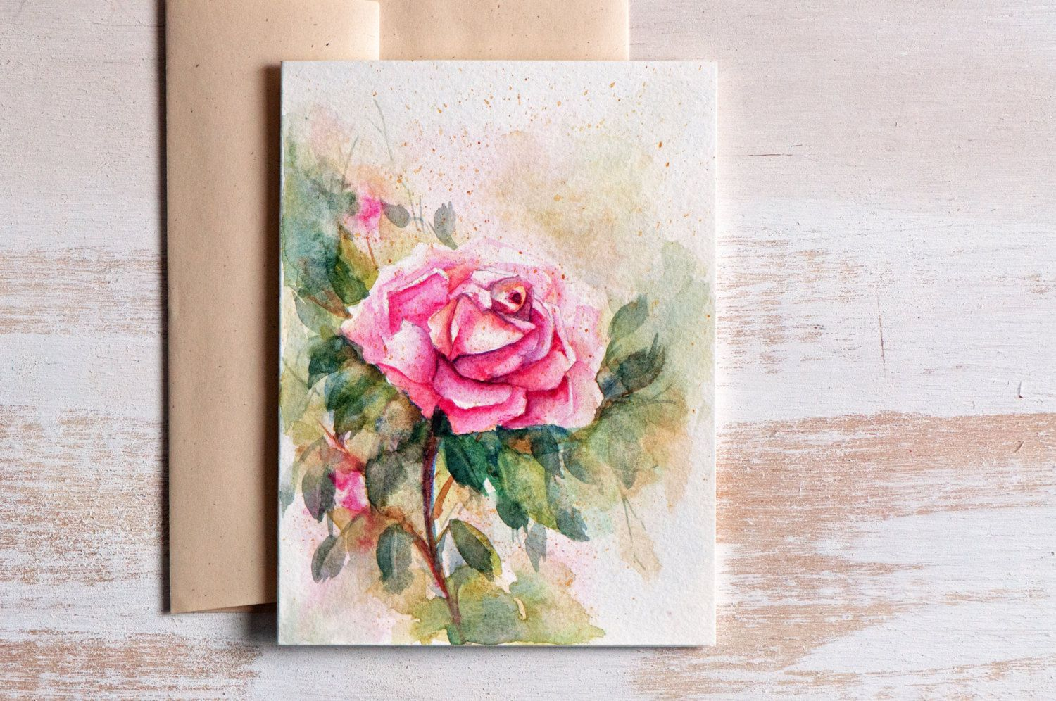 Watercolor mothers day card floralhand painted watercolor cards watercolor card hand painted original art birthday card anniversary pink flowers painting blank greeting card rose izmirmasajfo Choice Image