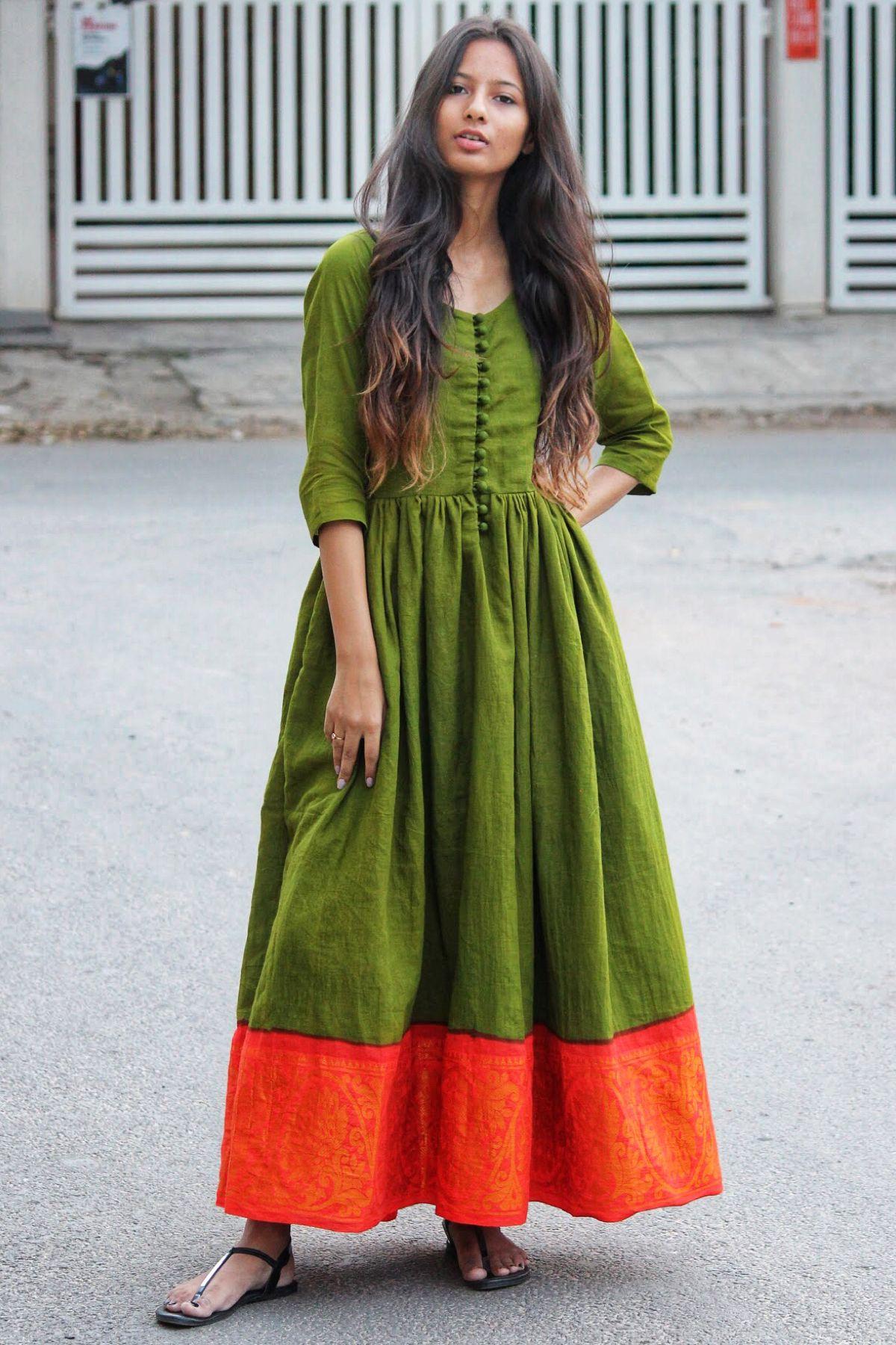 32adafcb41 Ankle length Fit & Flare Madurai Saree Dress | Liberate The Saree in ...
