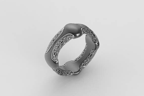 alien ring Sci fi ring giger ring geek wedding ring Mens Rings
