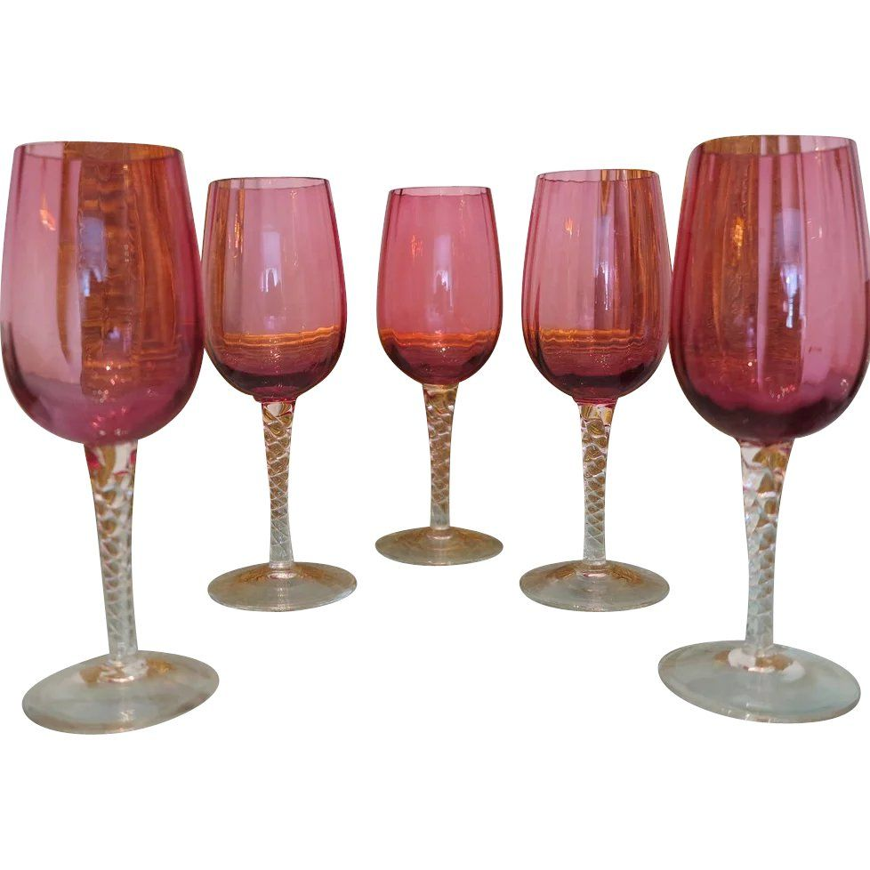 Set Of Five Bohemian Cranberry And Crystal Wine Glasses Ca 1910 1920 Found At Www Rubylane Com Vintagebegi Crystal Wine Glasses Vintage Wine Glasses Wine