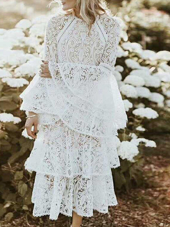 White Layered Ruffle Hem Flare Sleeve Women Lace Maxi Dress White Midi Dress Lace White Dress Midi Ruffle Dress [ 1500 x 1125 Pixel ]
