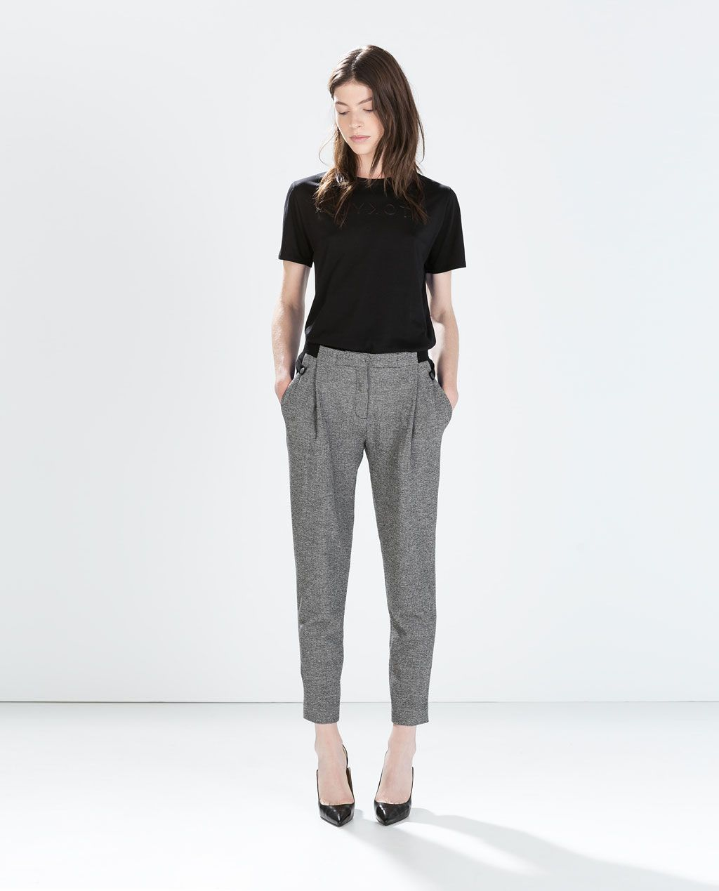 Imagen 1 De Pantalon Cintura Combinada De Zara Zara Mujer Pantalones Moda Estilo Y Pantalones