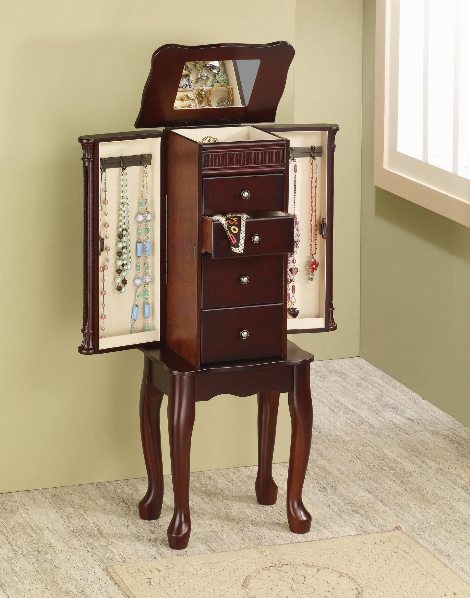 Traditional Cherry Finish Jewelry Armoire Lingerie Chest by Coaster