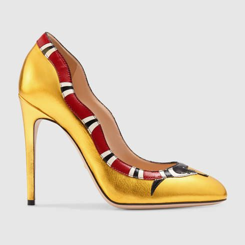 d4f22351734 GUCCI Metallic leather snake pump.  gucci  shoes  women s pumps ...