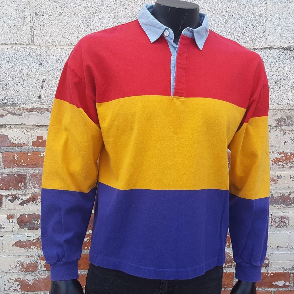 22301fdc1b9 VTG 90s J Crew Rugby Shirt Large Long Sleeve Polo Color Block Striped  Preppy #JCrew