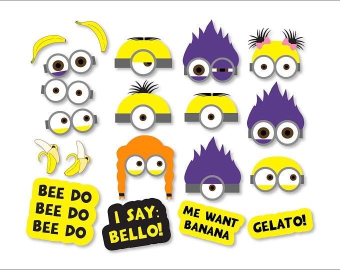 Minions Props Printables Minions Photo Booth Minions Backdrop Minions Mask Minions Party Minio Minion Photo Booth Minion Birthday Minion Party Decorations