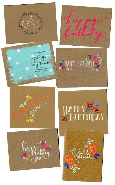 Papier Fabrik Kraft Paper Painted Cards Paint Cards Hand Painted Card Cards