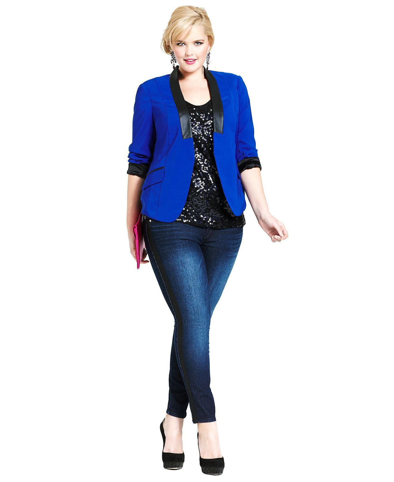 Plus Size Tuxedo Luxe Blue Jacket A Night Out