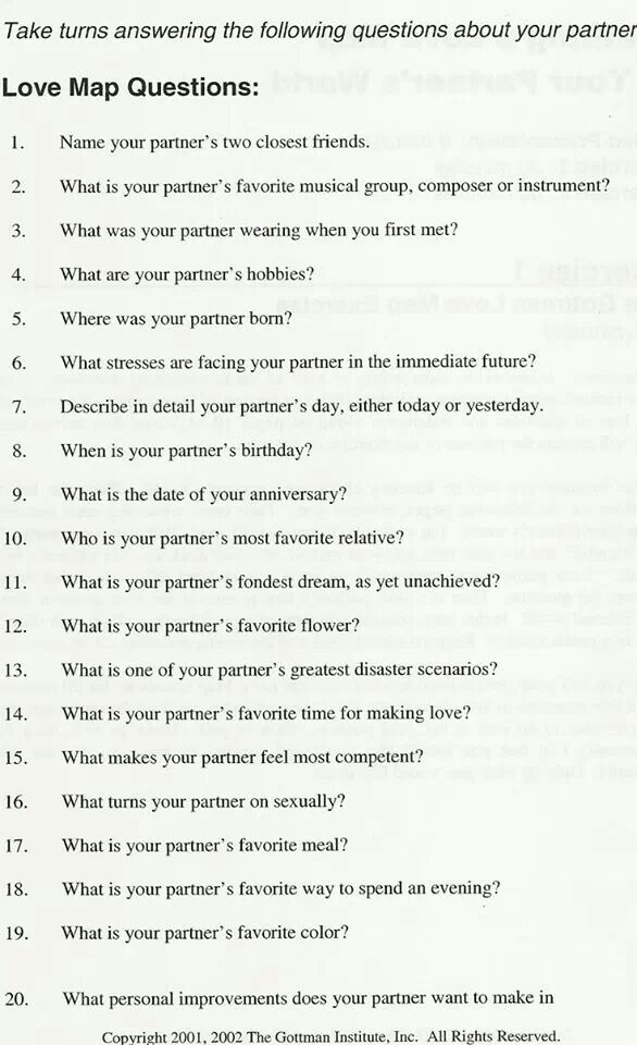Gottman S Love Map Quiz How Well Do You Know Your Partner