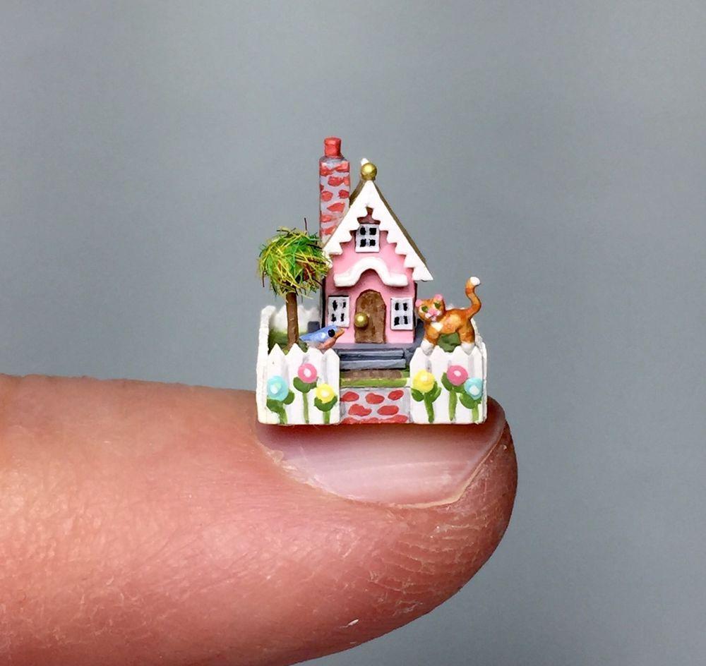 OOAK Miniature Dollhouse Putz Handcrafted Springtime Pink Cottage Micro House | eBay