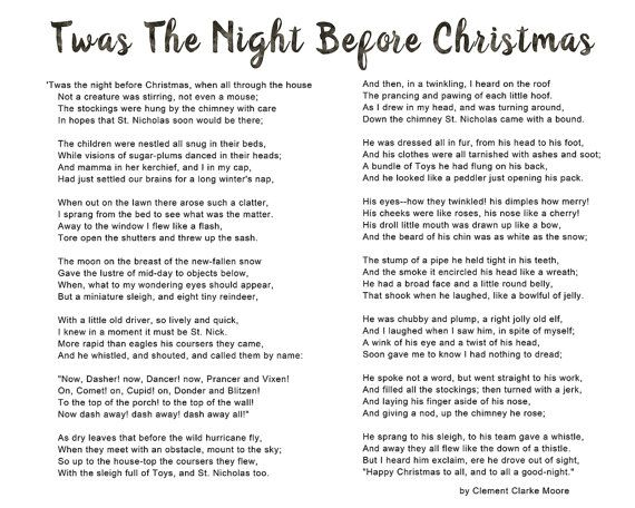 image regarding Twas the Night Before Christmas Poem Printable identified as Twas the evening prior to Xmas poem, Typography Artwork, youngster