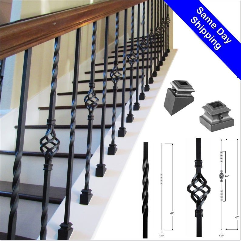 Iron Balusters Iron Stair Parts Iron Stair Railing Parts Etsy In 2020 Iron Stair Railing Iron Stair Balusters Iron Balusters