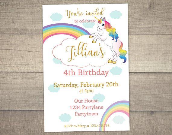 Unicorn Birthday Invitation Unicorn Invitation Rainbow – Free Digital Birthday Invitations