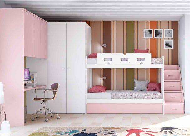 Habitaci n infantil con litera de 3 camas literas - Habitacion 3 camas ...