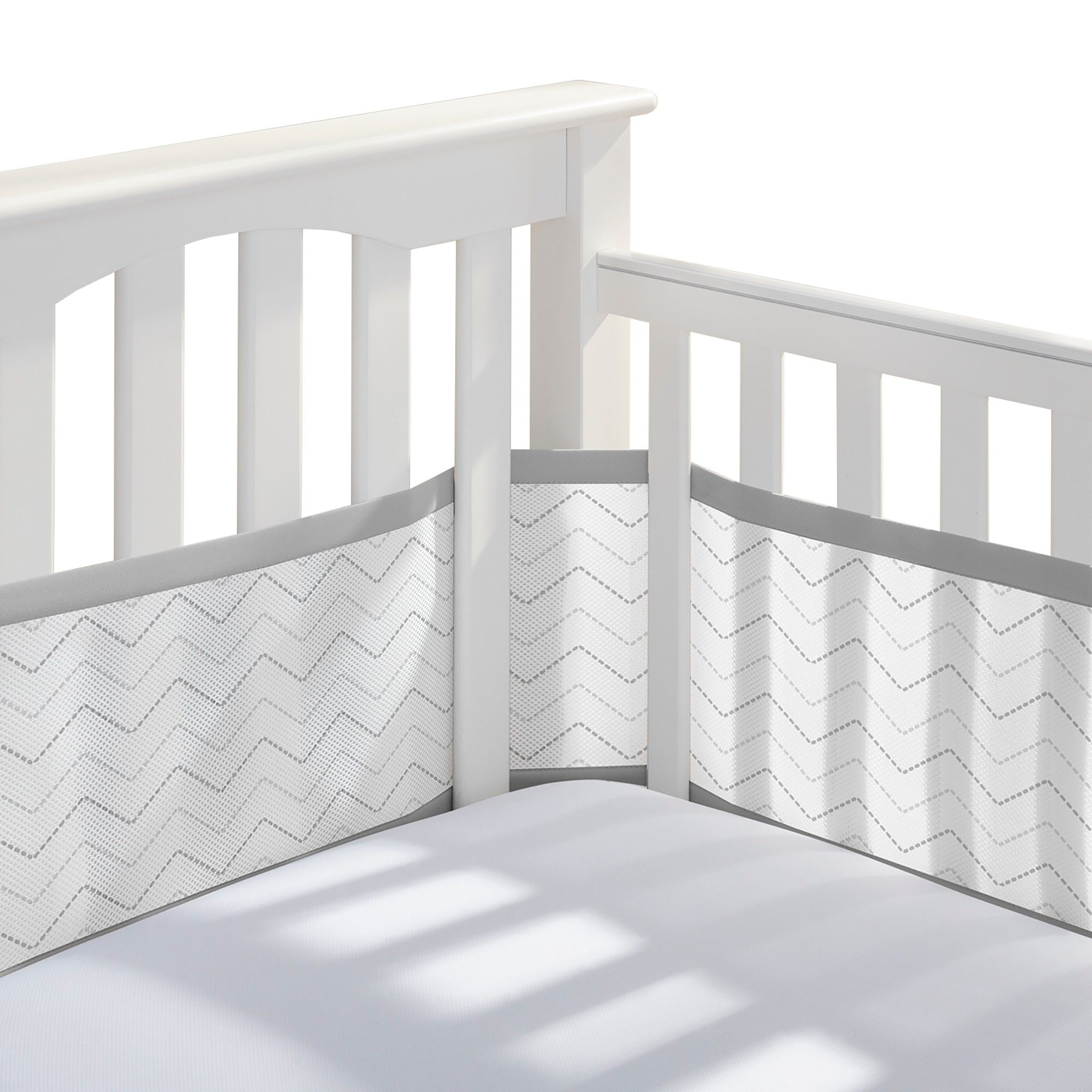 Breathable Baby Chevron Mesh Liner Chevron Gray Crib Liners Cribs Crib Bumper