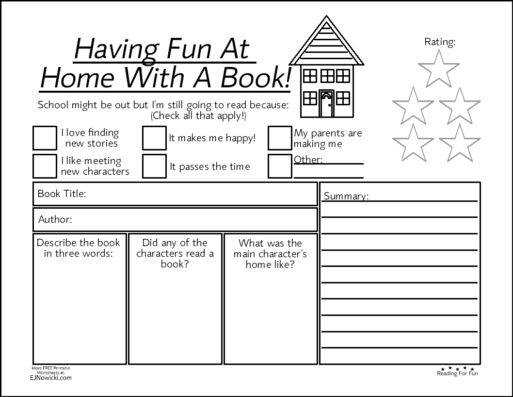 Book Activity Worksheet Having Fun At Home With A Book In