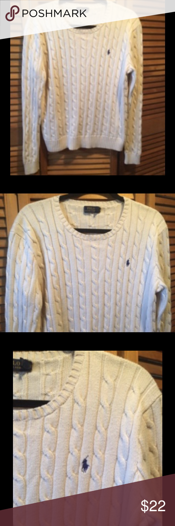 Ralph Lauren Cream Color Cable Knit Sweater | Cable knitting