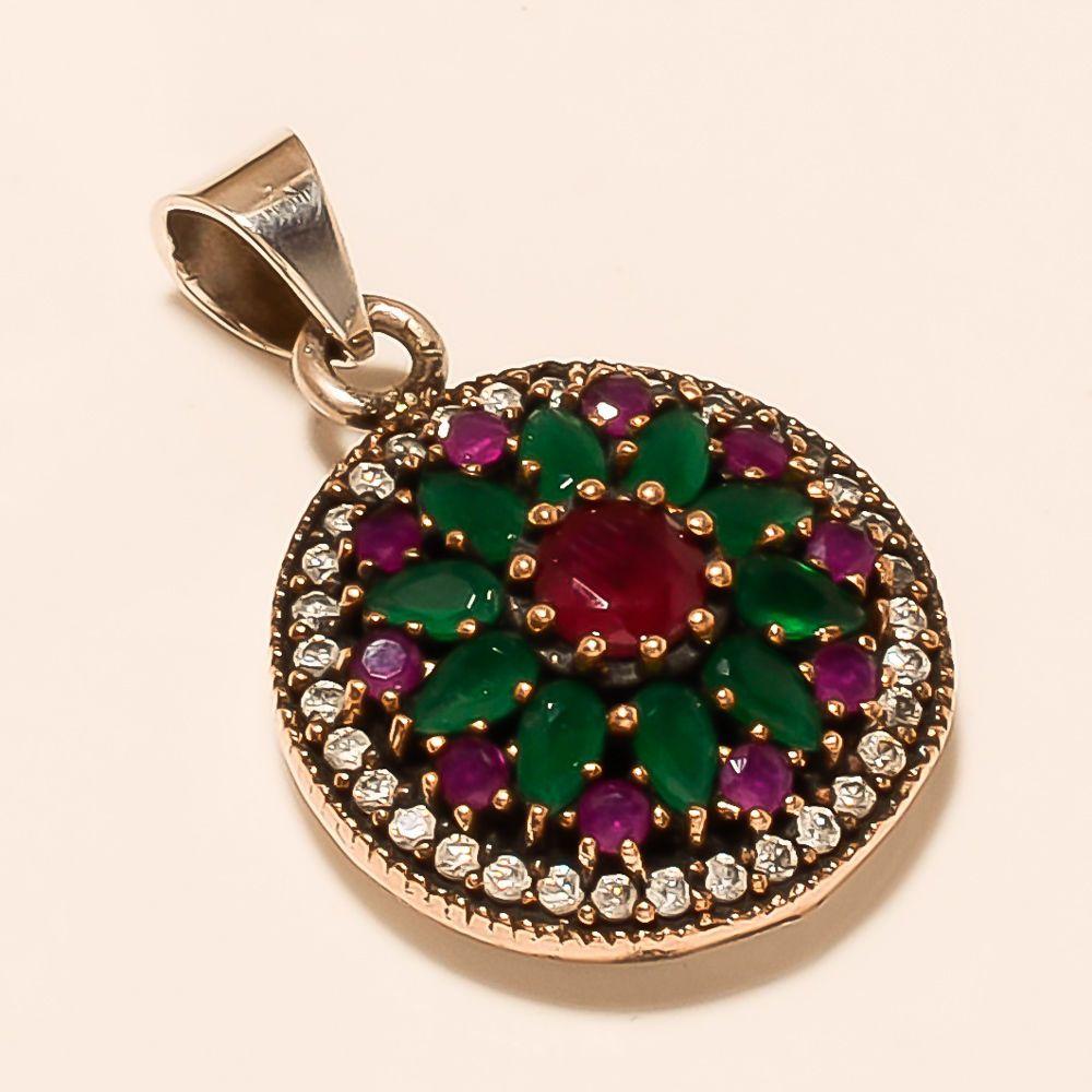 Turkish Handmade Sterling Silver 925 Ruby /& Emerald Pendant