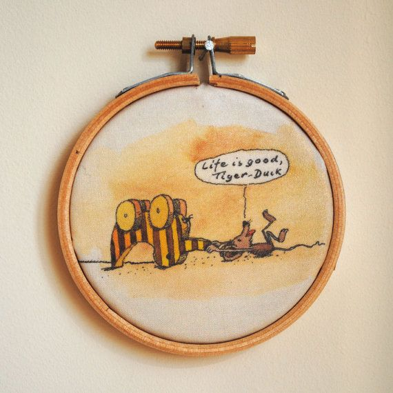 Awesome Life is Good Tiger Duck Embroidery Hoop Art from A Letter for Tiger by Janosch