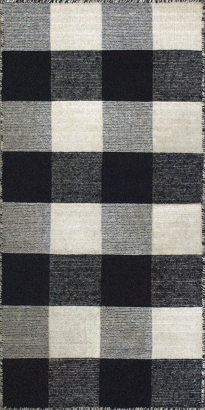 August Grove® Pickering Plaid Handwoven Wool/Cotton Black/Ivory Area Rug, Cotton/Wool in Ivory/Cream, Size Rectangle 2' x 4' | Wayfair