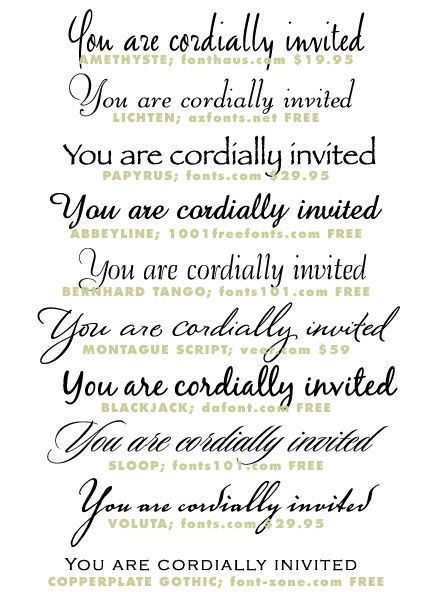 Wedding Invitation Typeface and Font Sources | Wedding invitation ...