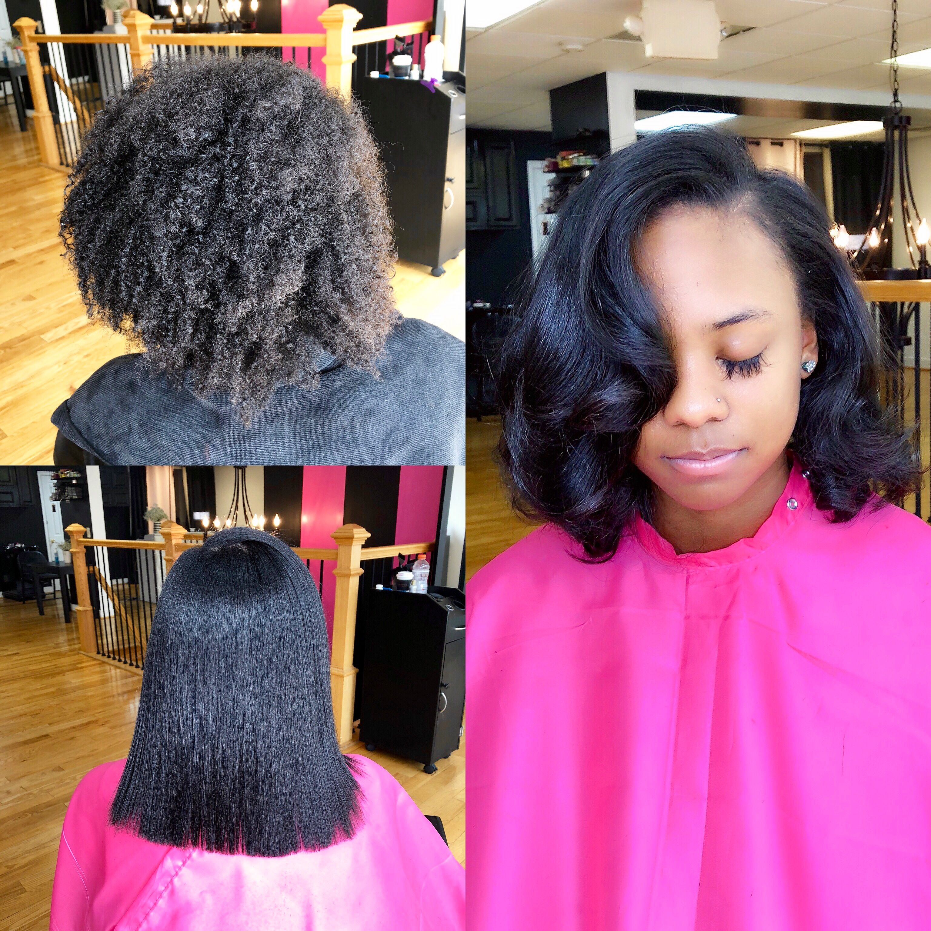 Silk Press Curls Pinkandblackhairstudio Com Flat Iron Hair Styles Silk Press Natural Hair Black Girl Long Hair